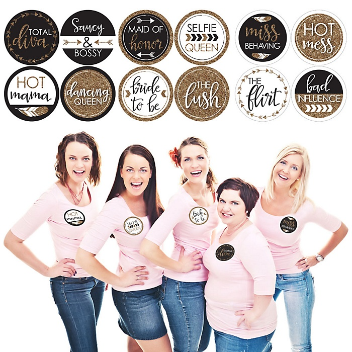 Bride Tribe - Bachelorette Party or Bridal Shower Name Tags - Party Badges Sticker Set of 12