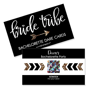bride tribe personalized bachelorette party bridal shower game scratch off dare cards 22 ct