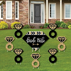 Bride Tribe - Yard Sign & Outdoor Lawn Decorations - Bridal Shower or Bachelorette Party Yard Signs - Set of 8
