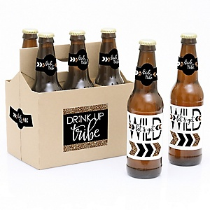 Bride Tribe - Bachelorette Party & Bridal Shower - Decorations for Women and Men - 6 Beer Bottle Label Stickers and 1 Carrier