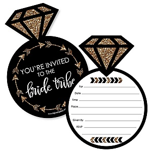Bride Tribe - Shaped Fill-In Invitations - Bridal Shower or Bachelorette Party Invitation Cards with Envelopes - Set of 12