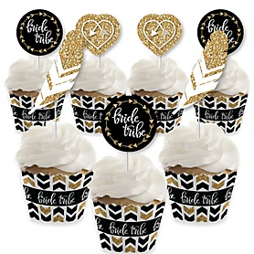 Bride Tribe - Cupcake Decorations - Bridal Shower or Bachelorette Party Cupcake Wrappers and Treat Picks Kit - Set of 24
