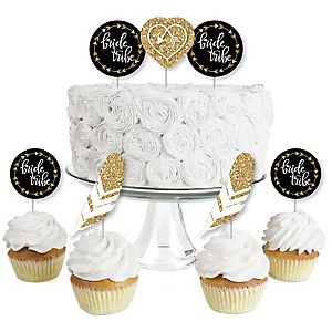 Bride Tribe - Dessert Cupcake Toppers - Bridal Shower or Bachelorette Party Clear Treat Picks - Set of 24