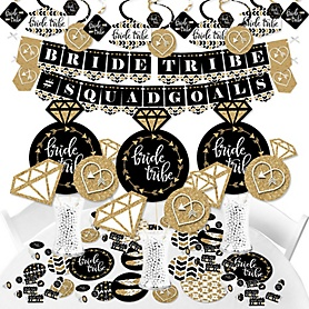 Bride Tribe - Bridal Shower or Bachelorette Party Supplies - Banner Decoration Kit - Fundle Bundle