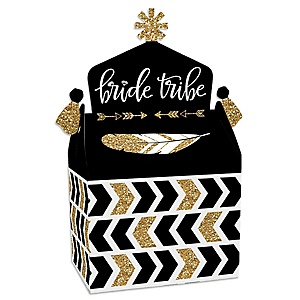 Bride Tribe - Treat Box Party Favors - Bridal Shower or Bachelorette Party Goodie Gable Boxes - Set of 12