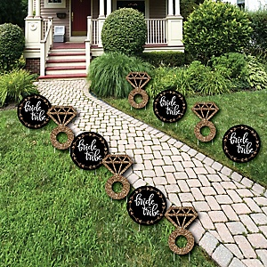 Bride Tribe - Diamond Ring Lawn Decorations - Outdoor Bachelorette Party or Bridal Shower Yard Decorations - 10 Piece