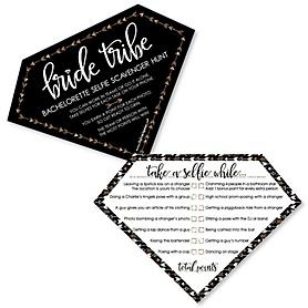 Bride Tribe - Selfie Scavenger Hunt Bachelorette Party or Bridal Shower Game - Set of 12