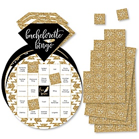 Bride Tribe - Bar Bingo Cards and Markers - Bridal Shower or Bachelorette Party Shaped Bingo Game - Set of 18