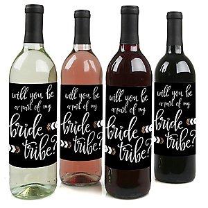 Will You Be A Part Of My Bride Tribe? - Will You Be My Bridesmaid Decorations for Women - Wine Bottle Label Stickers - Set of 4