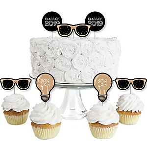 Bright Future - Dessert Cupcake Toppers - 2019 Graduation Party Clear Treat Picks - Set of 24