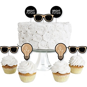 Bright Future - Dessert Cupcake Toppers - Graduation Party Clear Treat Picks - Set of 24