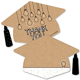 Bright Future - Shaped Thank You Cards - Graduation Party Thank You Note Cards with Envelopes - Set of 12