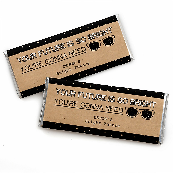 Bright Future - Personalized Candy Bar Wrappers Graduation Party Favors - Set of 24