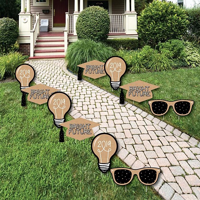 Bright Future - Grad Cap, Light Bulb & Sunglass Lawn Decorations - Outdoor 2019 Graduation Party Yard Decorations - 10 Piece