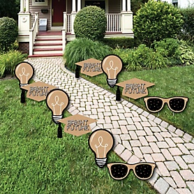 Bright Future - Grad Cap, Light Bulb & Sunglass Lawn Decorations - Outdoor Graduation Party Yard Decorations - 10 Piece