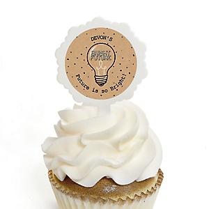 Bright Future - Personalized Graduation Cupcake Pick and Sticker Kit - 12 ct