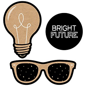 Bright Future - DIY Shaped Graduation Party Paper Cut-Outs - 24 ct