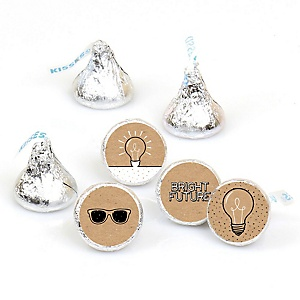 Bright Future - Round Candy Labels Graduation Party Favors - Fits Hershey's Kisses 108 ct