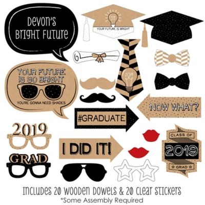 image regarding Graduation Photo Booth Props Printable named Brilliant Long term - 20 Piece 2019 Commencement Get together Image Booth Props Package