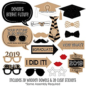 Bright Future - 20 Piece 2019 Graduation Party Photo Booth Props Kit