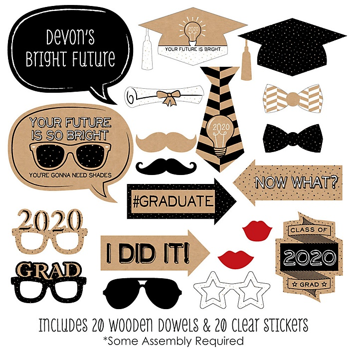 Bright Future - 20 Piece 2020 Graduation Party Photo Booth Props Kit