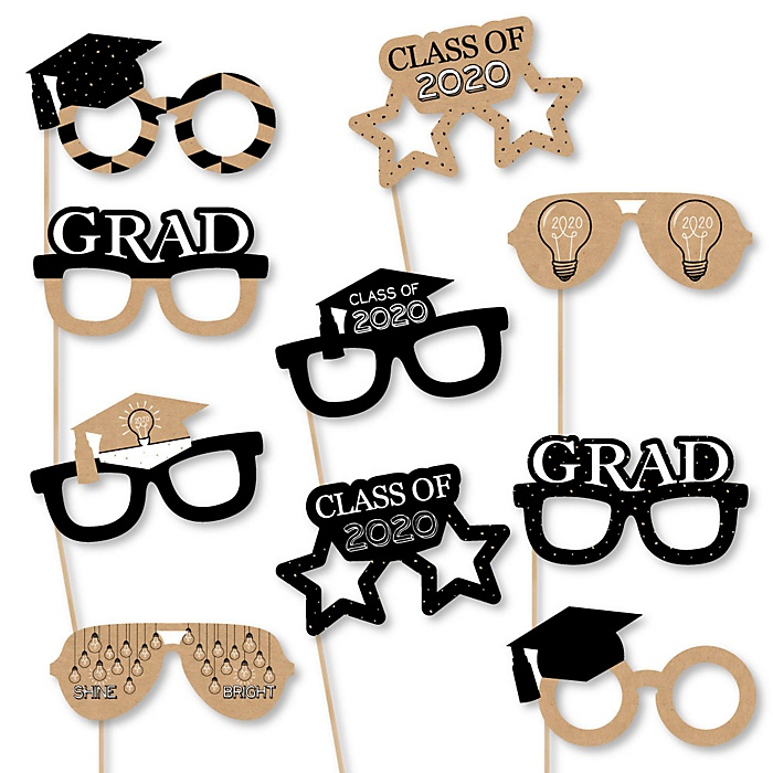 Bright Future Glasses - 2020 Paper Card Stock Graduation Party Photo Booth Props Kit - 10 Count