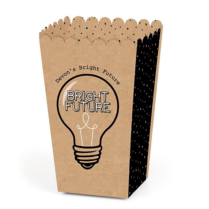 Bright Future - Personalized Graduation Popcorn Favor Treat Boxes - Set of 12