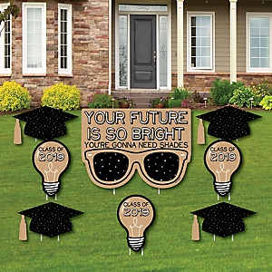 Bright Future - Yard Sign & Outdoor Lawn Decorations – 2019 Graduation Party Yard Signs - Set of 8