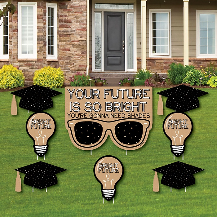 Bright Future - Yard Sign & Outdoor Lawn Decorations - Graduation Party Yard Signs - Set of 8