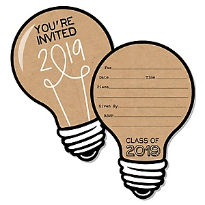 Bright Future - Shaped Fill-In Invitations - 2019 Graduation Party Invitation Cards with Envelopes - Set of 12
