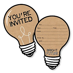 Bright Future - Shaped Fill-In Invitations - Graduation Party Invitation Cards with Envelopes - Set of 12