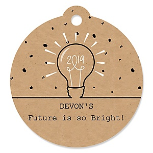 Bright Future - Round Personalized 2019 Graduation Party Die-Cut Tags - 20 ct