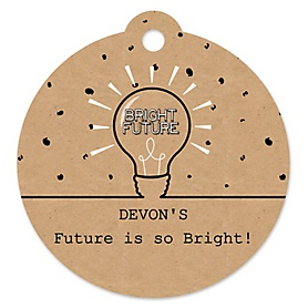 Bright Future - Round Personalized Graduation Party Die-Cut Tags - 20 ct