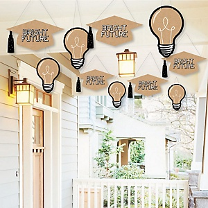 Hanging Bright Future - Outdoor Graduation Party Hanging Porch & Tree Yard Decorations - 10 Pieces