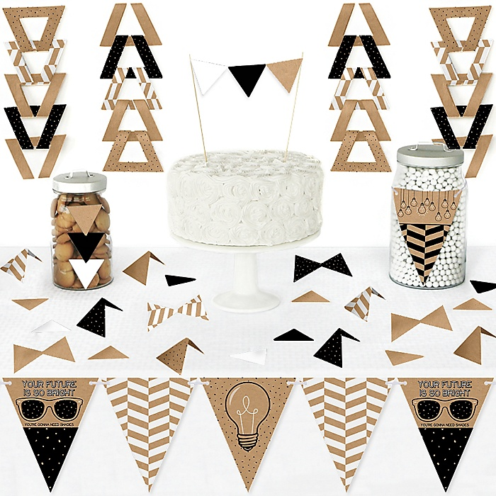 Bright Future - DIY Pennant Banner Decorations - Graduation Party Triangle Kit - 99 Pieces