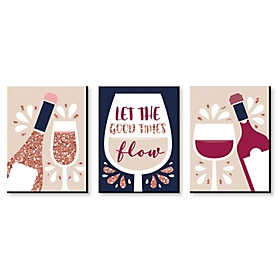 But First, Wine - Bar Wall Art and Home Decor - 7.5 x 10 inches - Set of 3 Prints