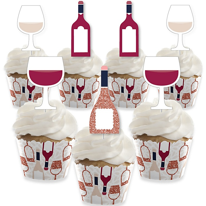 But First, Wine - Cupcake Decoration - Wine Tasting Party Cupcake Wrappers and Treat Picks Kit - Set of 24