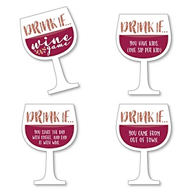 Drink If Game - But First, Wine - Wine Tasting Party Game - Set of 24