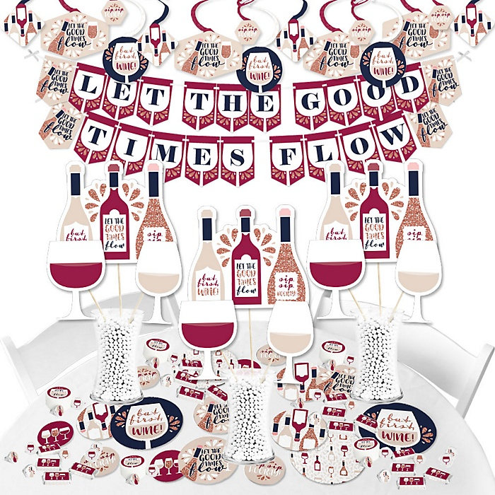 But First, Wine - Wine Tasting Party Supplies - Banner Decoration Kit - Fundle Bundle