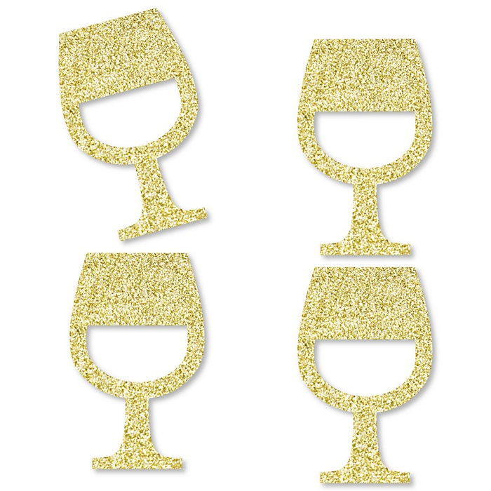 Gold Glitter Wine Glass - No-Mess Real Gold Glitter Cut-Outs - Wine Tasting Party Confetti - Set of 24