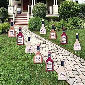 But First, Wine - Lawn Decorations - Outdoor Wine Tasting Party Yard Decorations - 10 Piece
