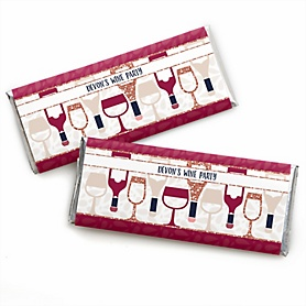 But First, Wine - Personalized Candy Bar Wrapper Wine Tasting Party Favors - Set of 24