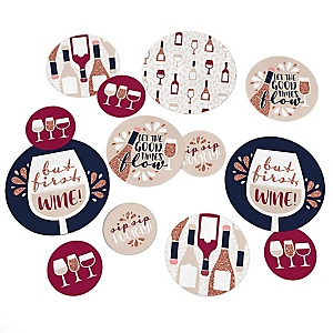 But First, Wine - Wine Tasting Party Giant Circle Confetti - Party Decorations - Large Confetti 27 Count