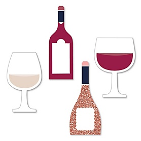 But First, Wine - DIY Shaped Wine Tasting Party Cut-Outs - 24 ct