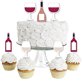 But First, Wine - Dessert Cupcake Toppers - Wine Tasting Party Clear Treat Picks - Set of 24
