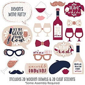 But First, Wine - 20 Piece Wine Tasting Party Photo Booth Props Kit