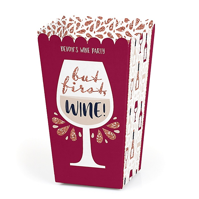 But First, Wine - Personalized Wine Tasting Party Favor Popcorn Treat Boxes - Set of 12