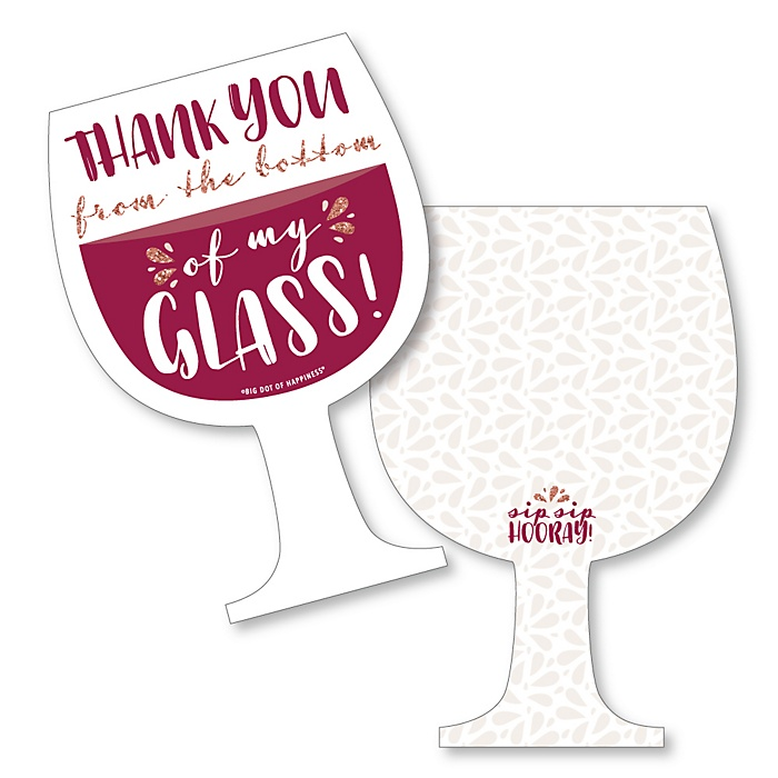 But First, Wine - Shaped Thank You Cards - Wine Tasting Party Thank You Note Cards with Envelopes - Set of 12