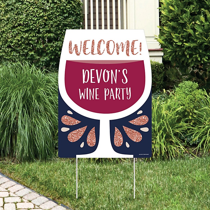 But First, Wine - Party Decorations - Wine Tasting Party Personalized Welcome Yard Sign