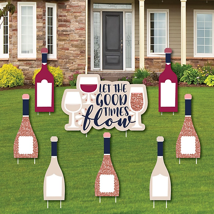 But First, Wine - Yard Sign and Outdoor Lawn Decorations - Wine Tasting Party Yard Signs - Set of 8